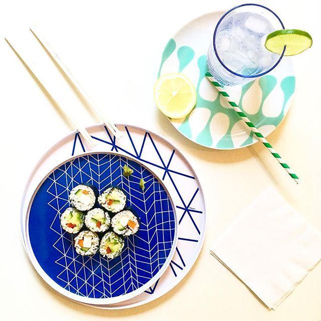 Healthy food (vegetarian sushi) & fresh design (bzyoo, of course) #sushi #healthy #food #foodporn #blue #mint #lime #asian #bzyoo #design #style #cool #love #cute #homewares #dinnerware #beauty #beautiful #decor #homedecor #tableware #beautifulhomes #dinner #ontrend #trend