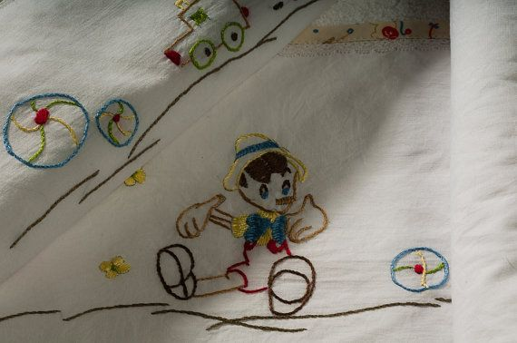 Pinocchio set 2 baby towels hand by babysdreamfairytales on Etsy