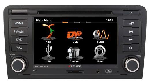 De Zenec ZE-NC3131D #Audi Navigatie. 2-DIN Multimedia systeem met iGo navigatie voor 43 landen. De goedkopere tegenhanger van de #RNS-E. De NC3131D is speciaal ontwikkeld en pasklaar voor de Audi A3 vanaf 2006. Compleet met Parrot Bluetooth, USB ingang en iPod-iPhone bediening.