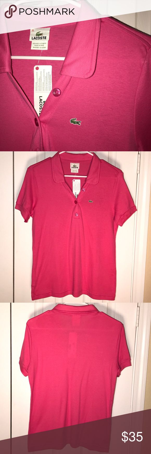 Lacoste Women's Polo NWT. LACOSTE WOMEN'S POLO. Purchased at Lacoste store in NY.  Super cute & perfect for summer. 🌸 Lacoste Tops Tees - Short Sleeve
