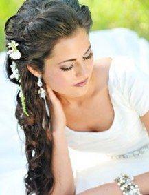 Beste Hochzeitsfrisuren für langes Haar Half Up Curls Side Pony Ideen #Haar #Hochzeit #Frisur ...