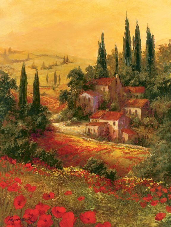 Colline e Vigneti- Affreschi vendita affreschi su tela,vendita affreschi per muro,falsi d'autore,decoupage effetto affresco