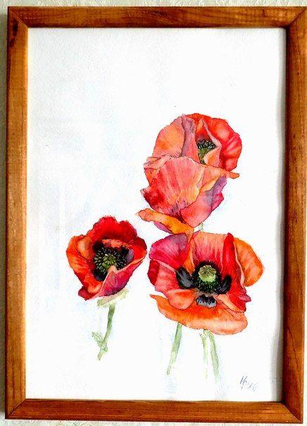Oriental poppy. Watercolor. 21х30. Н.Репина #Watercolor