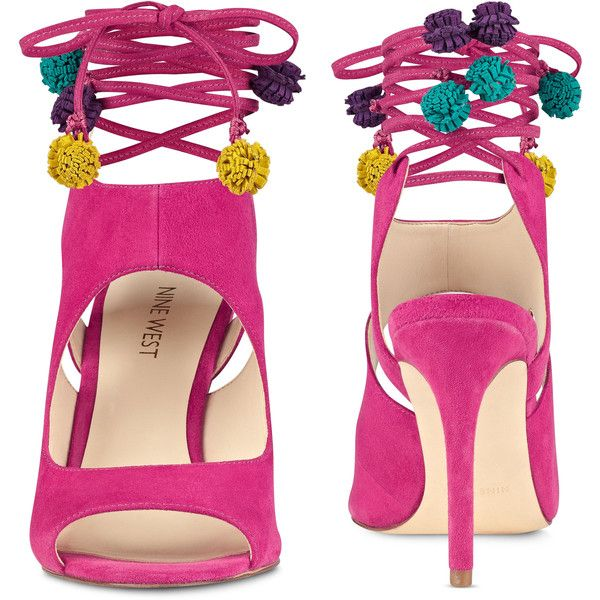 Nine West Maya Open Toe Sandals ($109) ❤ liked on Polyvore featuring shoes, sandals, strappy sandals, open toe high heel sandals, multi color sandals, high heel shoes and multi colored sandals