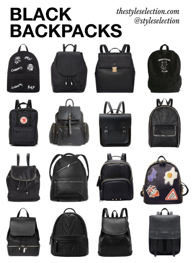 """""""Black backpacks"""" by ferned on Polyvore featuring rag & bone, Mini Cream, Fjällräven, Topshop, The Cambridge Satchel Company, STELLA McCARTNEY, Monki, WithChic and COSTUME NATIONAL"""