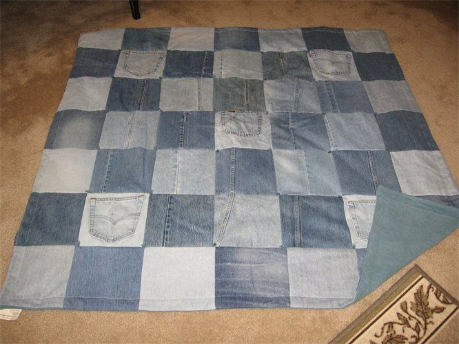 Denim quilts recycled denim throw quilt with your for Fleece tapete