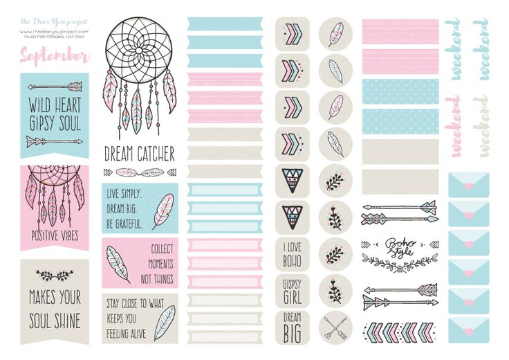 Free Printable Dreamcatcher Planner Stickers (08) from The Dear You Project