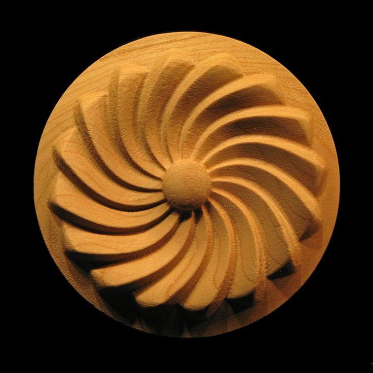 Carved Wood Rosette   Pinwheel