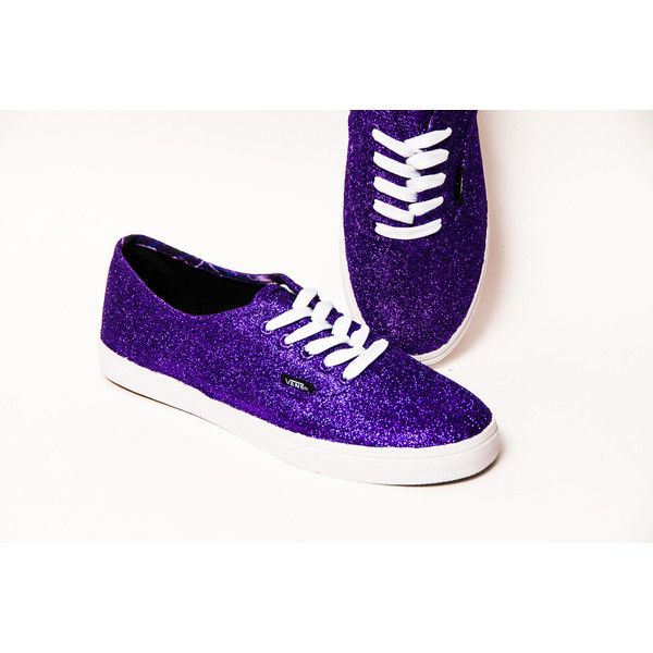 Glitter Purple Passion Decorated Vans Canvas Lo Pro Sneakers Shoes ($130) ❤ liked on Polyvore featuring shoes, sneakers, light purple, sneakers & athletic shoes, tie sneakers, women's shoes, lavender shoes, sparkly sneakers, clear shoes and embellished sneakers