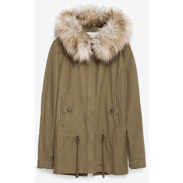 Zara Parka With Fleece Lining (855 SEK) ❤ liked on Polyvore featuring outerwear, coats, khaki, fleece lined parka, parka coat, khaki coat, brown parka and zara parka
