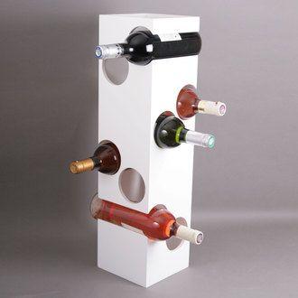 Porte-bouteilles en bois forme cubique 8 bouteilles gris KUBIK en solde