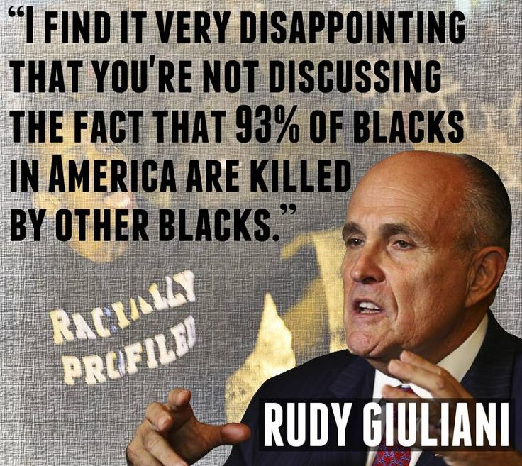 """The case of white police officers killing blacks are the exception rather that the rule - """"We are talking about the significant exception"""" ~Giuliani #justthefacts"""
