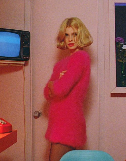 ✖✖✖ paris, texas ✖✖✖ the pink sweater, pink lips, sheer stockings, fuzzy sweater, middle part