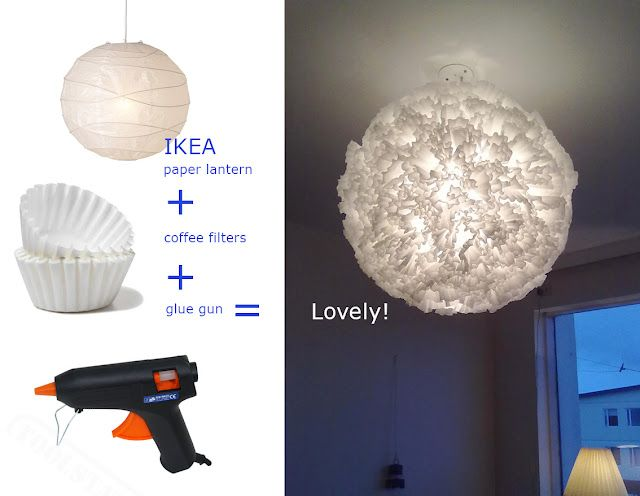 Coffee Filter light?? I am thinking - dye the edges of the coffee filters with a color, sort of like a white carnation that has been fed colored water. Light blue or green or purple. This would be fun to make!