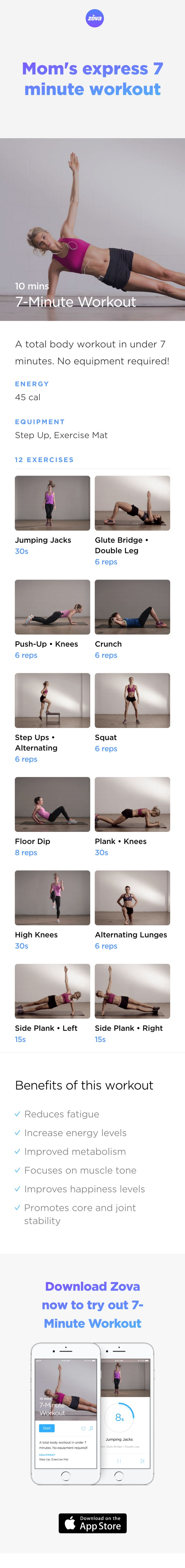 As any mom will tell you, a good workout is a quick workout and this short but intense routine ticks all the boxes. Designed for busy moms, these no equipment exercises will release an instant energy boost, plus they'lll increase fitness levels and speed metabolism rates at the same time. #weightloss #workout #fitness #HIIT #fullbody #sweat #bodyweight #calories #athome #mom