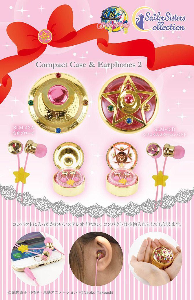 NEW Sailor Moon Compacts Headphones & Earphones! more info: http://www.sailormooncollectibles.com/2015/11/25/sailor-moon-prism-crystal-star-headphonesearphones/