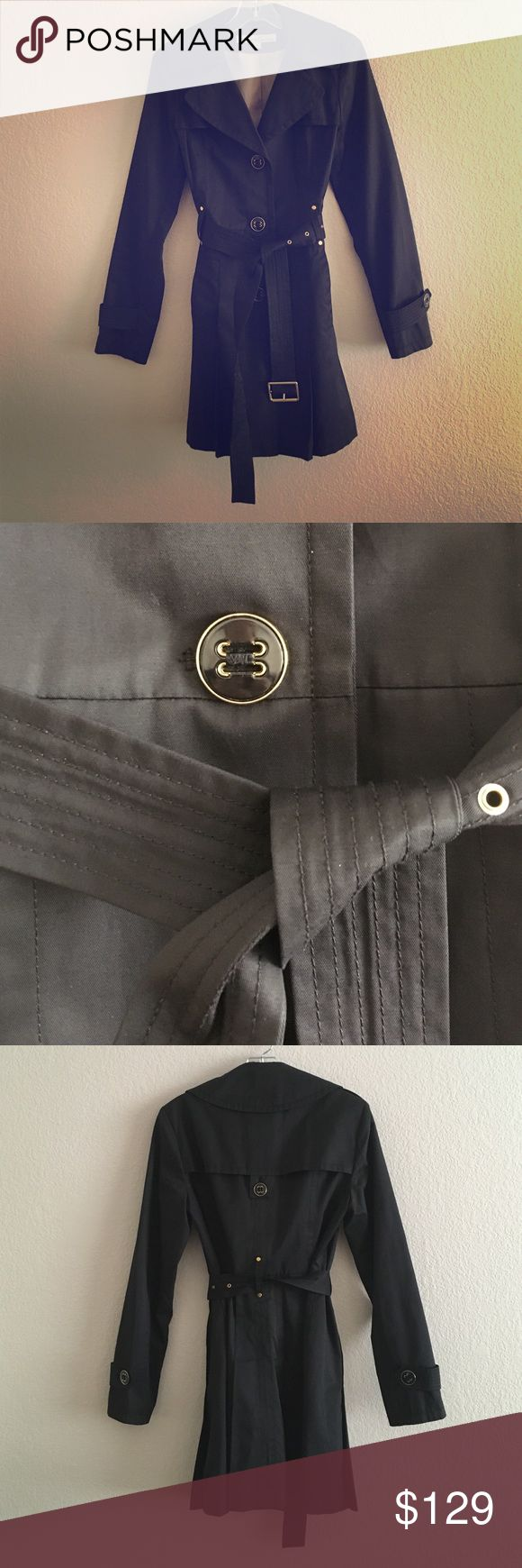 Black Trench Coat Black Kenneth Cole belted trench coat with gold details. Kenneth Cole Reaction Jackets & Coats Trench Coats