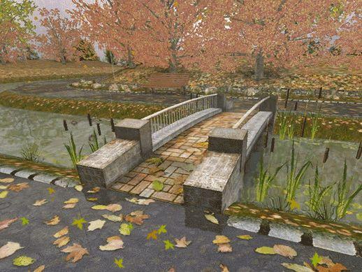 анимированная картина в парке,красивый мост и падающие листья - анимационные картинки