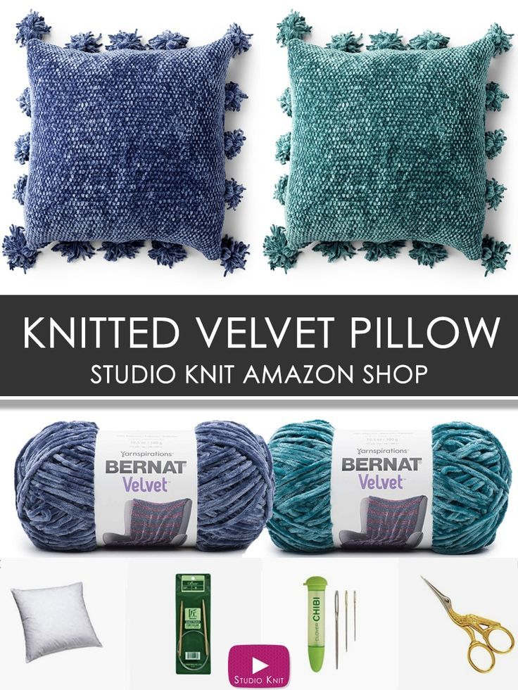 9bca73a44d Shop for Knitted Velvet Pillow Yarn and Tools in Studio Knit s Amazon Shop.   yarn  knittingneedles  knittingtools