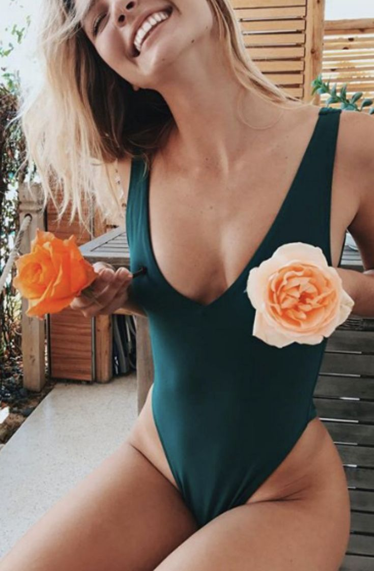One piece bathing suit emerald green