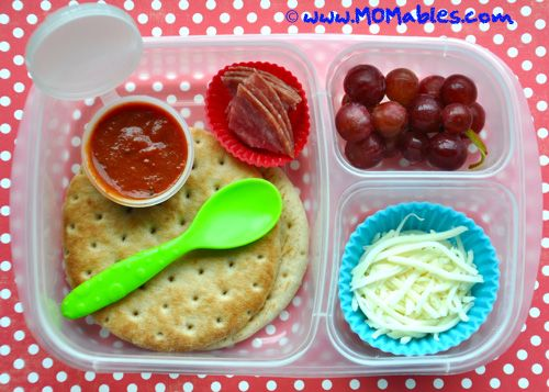 Lunchable Pizza Remake. Less fat, sodium, carbs, and sugar than the original boxed. Plus- more fiber and no nitrates or rubbery cheese. MOMables Homemade Pizza Lunchables to the rescue!