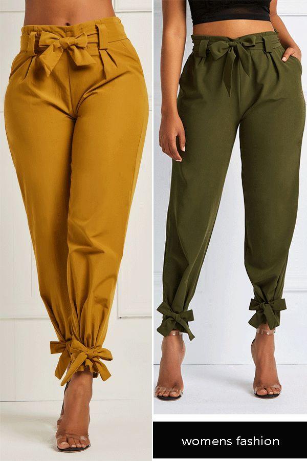 Bowknot Plain Women's Pencil Pants#pants#fashion#womens pants 7