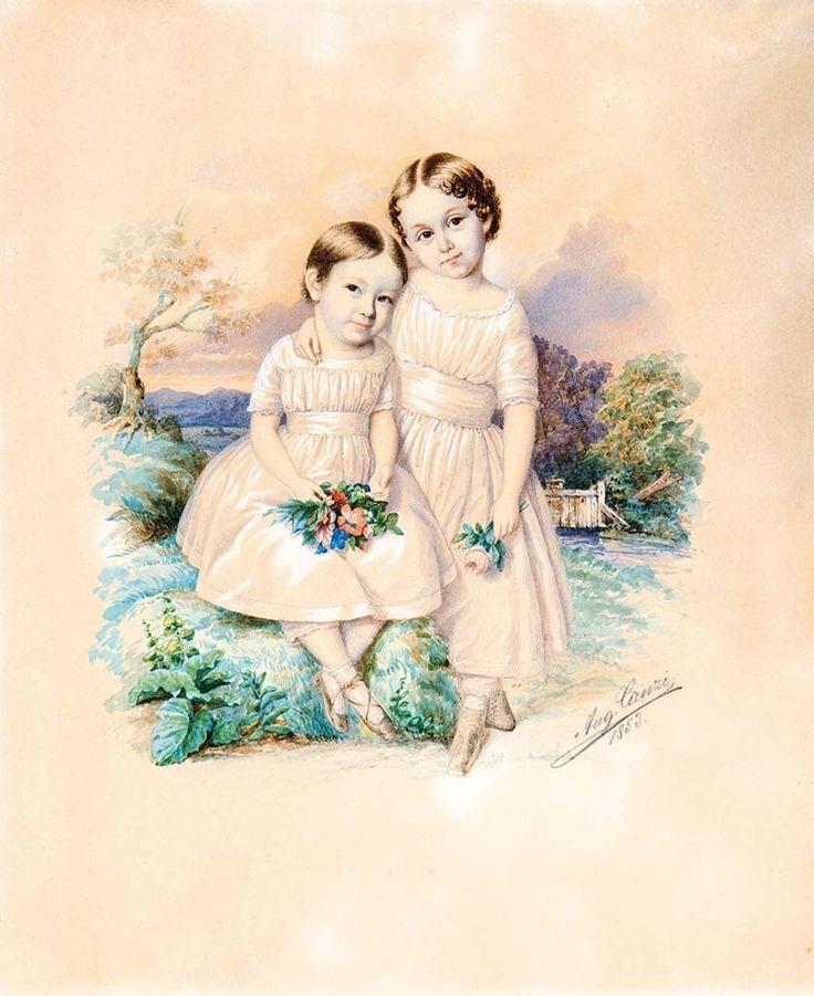 Canzi Ágost (1808-1866) Kislányok virággal, 1853