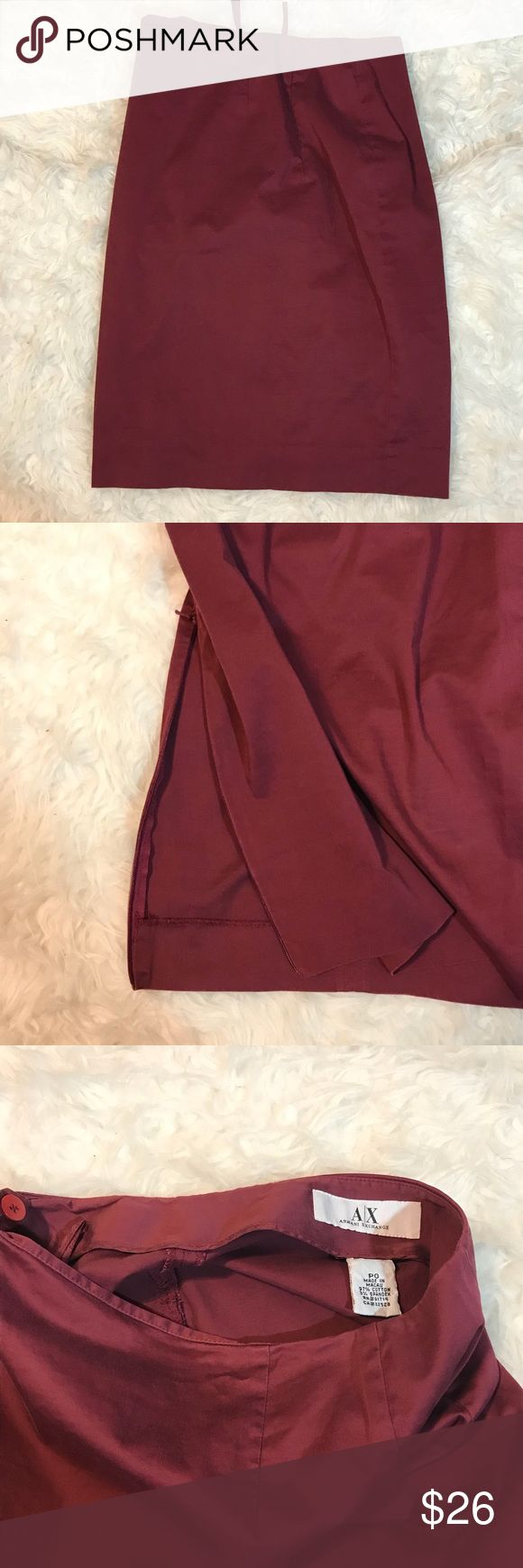 Armani Exchange Burgundy Pencil Skirt Armani Exchange Burgundy Pencil Skirt. Preowned. Button and zippered side closure. Zipper at bottom size hem to change slit length.   Length 21 inches  Waistline is 26 inches  Size petite 0.  97 cotton / spandex  Handwash A/X Armani Exchange Skirts Pencil