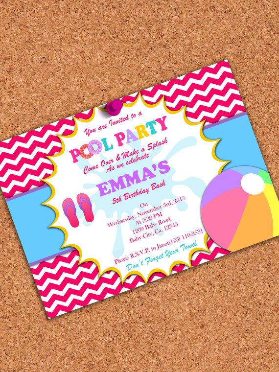 printable invitation  girl pool party invitation  pool birthday party  5x7  on etsy   5 00
