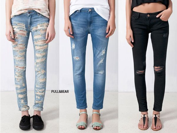 PULLANDBEAR. Pantalones rotos.
