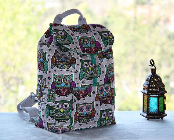 Retro Owls Prints Backpack/ Large by leyyabags on Etsy, $100.00