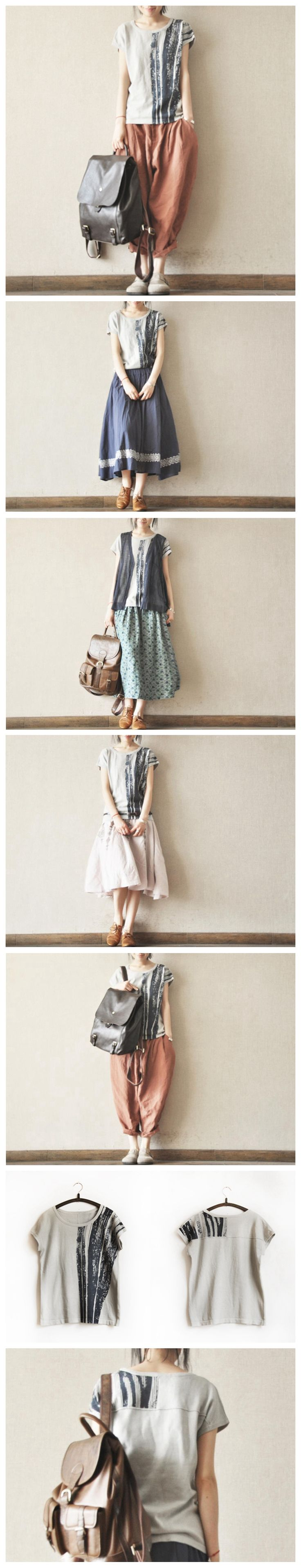 Grey Ink T-shirt Knitwear Cotton Top Summer Blouse Women Clothes by Fantasylinen