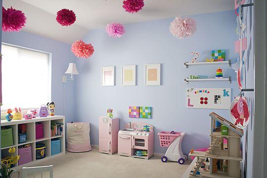 cute playroomWall Colors, Playrooms Ideas, Playrooms Storage, Kids Playrooms, Kids Room, Girls Room, Plays Room, Pom Pom, Ceilings Decor