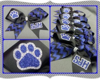 Custom cheer uniform matching bow Pom poms and by nobownogo
