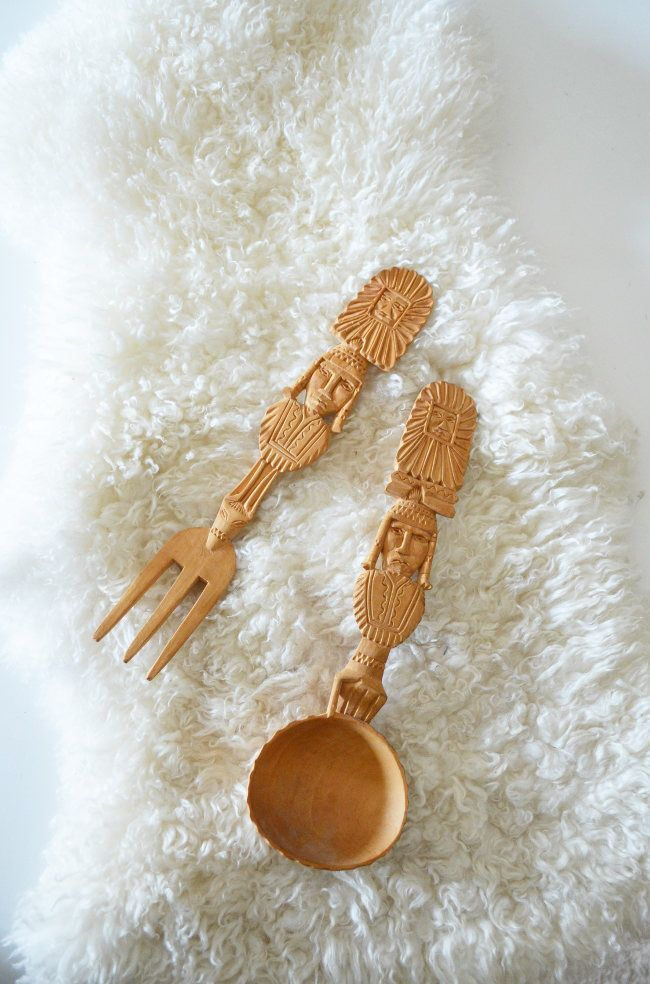 Vintage bohemian wood salad cutlery ladle ladle carved lion boho fork and spoon decorative kitchen decor wood handmade by aBohemiansAttic on Etsy https://www.etsy.com/listing/552622752/vintage-bohemian-wood-salad-cutlery