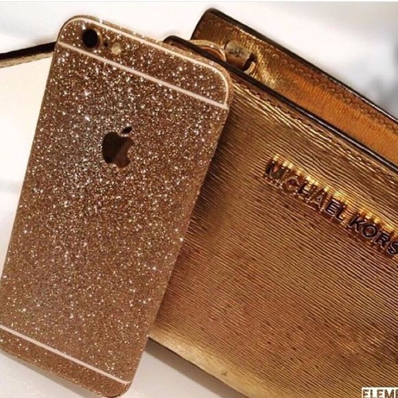 Gold Glitter iPhone Skin ✼ Available gold glitter skin for iPhone 6/6s. We also have available for iPhone 6+/6s+, heck out our profile to buy it. This isn't a case, this is a sticker. Visit our website to see more colors and styles: www.elementaccessories.net and follow us on Instagram: @element.accessories Accessories Phone Cases
