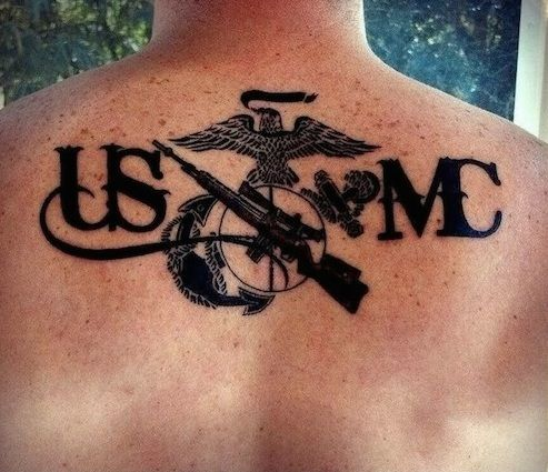 Sniper rifle USMC Marine Corps Tattoo