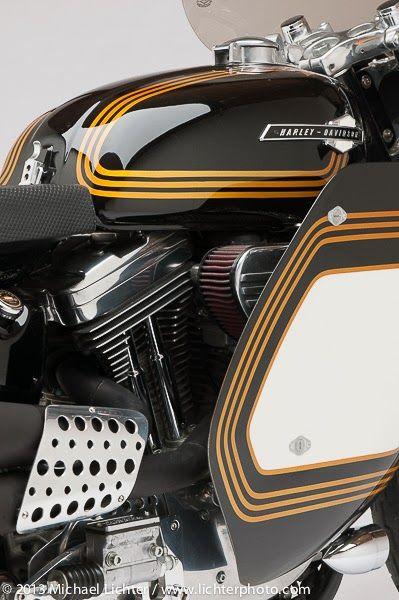 Evo Sportster racer custom with black & gold paintjob