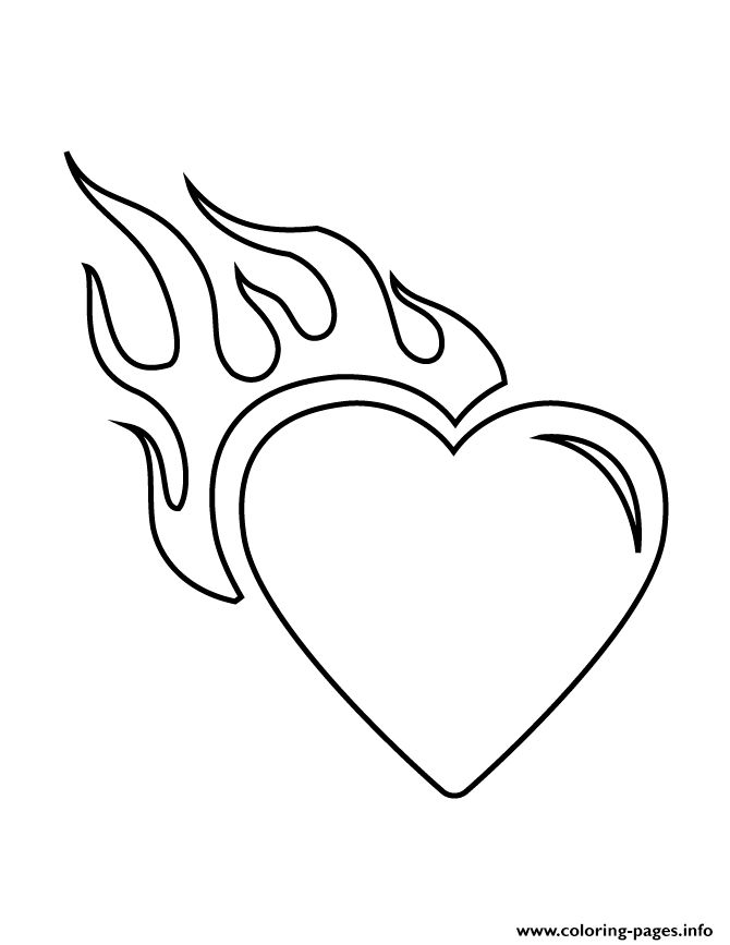 Print Heart With Flames Stencil Coloring Pages Skull Stencil Cute Easy Drawings Easy Drawings