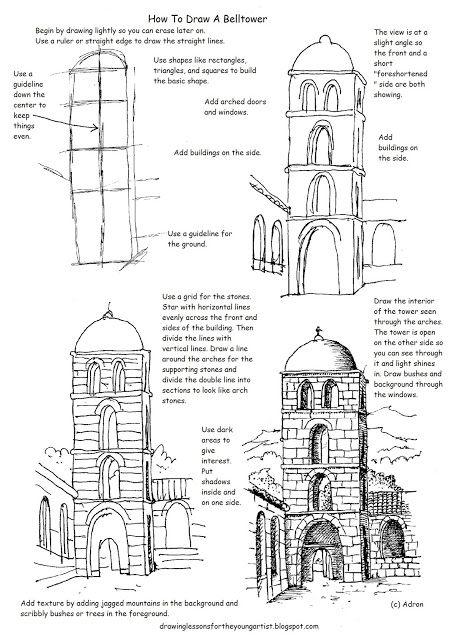 Как рисовать Worksheets для молодого художника: здания