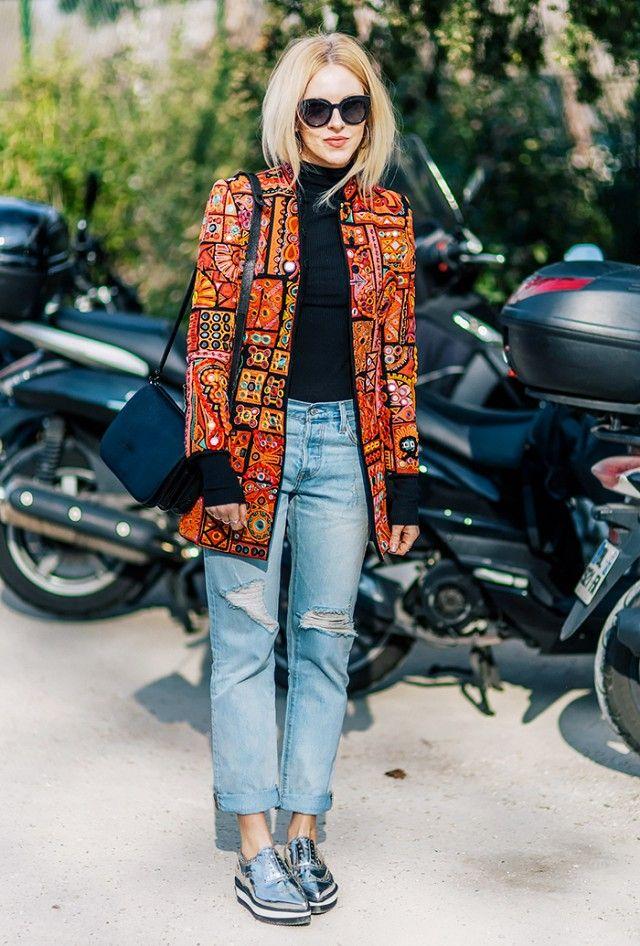 light wash boyfriend denim + metallic shoes + statement jacket