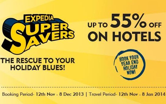 Get up to 55% discount on Expedia hotels and flight booking.