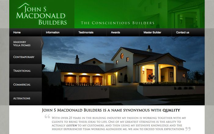 John S Macdonald Builders website creative web design