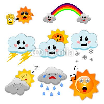 © http://www.elisabistocchi.org/ A set of funny weather icons isolated on white background made by Elisa Bistocchi. #Weather #Meteo #Meteorologia #Icons #Icon #Set #Funny #Sun #Clouds #Storm #Hot #Cold #Summer #Winter #Illustration #vector #Svg #Image #Graphic #Beer