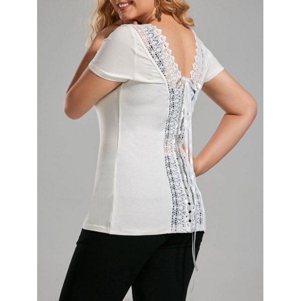 Plus Size Lace Up Open Back T Shirt Off White 5xl Mobile Plus Size Lace Up Lace Tshirt