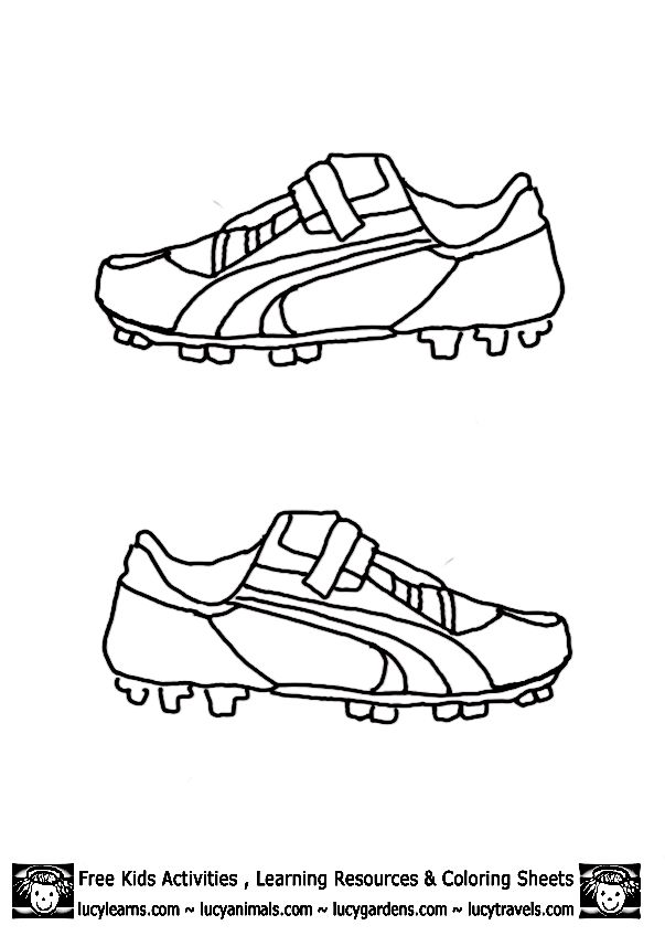 Soccer Shoes for Kids Coloring Page