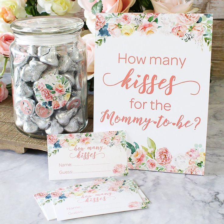 Floral How Many Kisses Baby Shower Game – Standing…
