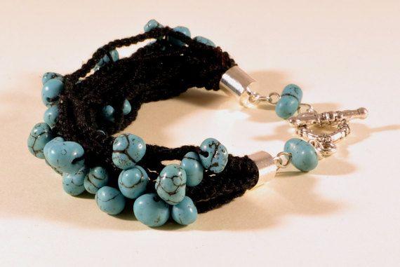 Crochet and minerals - Turquoise bracelet, summer jewelry, handmade bracelet