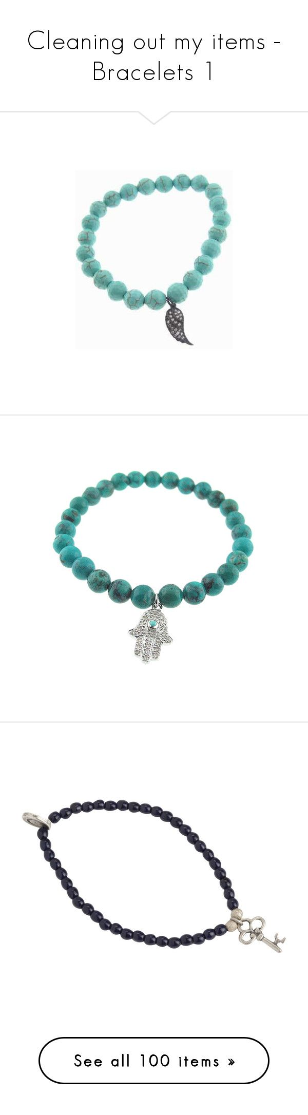 """""""Cleaning out my items - Bracelets 1"""" by firewitch23 ❤ liked on Polyvore featuring jewelry, bracelets, turquoise bangle, oxidized jewelry, diamond jewellery, oxidized jewellery, stackers jewelry, green turquoise jewelry, hamsa hand jewelry and white gold jewelry"""