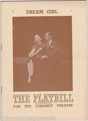 DREAM GIRL - BETTY FIELD, HAILA STODDARD VINTAGE 1940s THEATER PLAYBILL